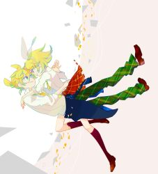 1boy 1girl aqua_eyes bangs blonde_hair blue_eyes bow brother_and_sister eye_contact floating gradient gradient_background hair_between_eyes hair_bow hair_ornament hairclip hako_(swimjelly) hand_holding kagamine_len kagamine_rin kneehighs looking_at_another pleated_skirt shirt shoes short_hair siblings simple_background skirt smile twins vocaloid white_background