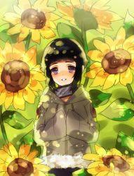 1girl fur_trim hyuuga_hinata lavender_eyes liechi looking_at_viewer naruto short_hair smile solo sunflower