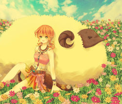 1girl animal artist_request blue_sky field final_fantasy final_fantasy_xiii flower looking_at_viewer oerba_dia_vanille sheep sitting skirt smile tribal twintails
