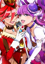 2girls :d animal_ears breasts cat_ears choker cleavage cure_chocolat cure_macaron dog_ears earrings elbow_gloves extra_ears food_themed_hair_ornament gloves hair_ornament hat jewelry kenjou_akira kirakira_precure_a_la_mode kotozume_yukari long_hair looking_at_viewer macaron_hair_ornament magical_girl microphone multiple_girls open_mouth precure purple_eyes purple_hair red_eyes red_hair sayvi short_hair smile white_gloves