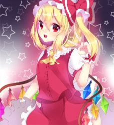 1girl :d blonde_hair flandre_scarlet hat highres looking_at_viewer mob_cap motsuni_(lxxe1120) open_mouth puffy_short_sleeves puffy_sleeves red_skirt red_vest shirt short_sleeves side_ponytail skirt smile star touhou v white_shirt