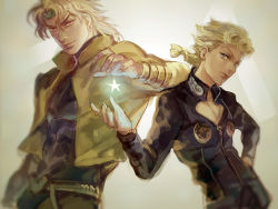 blonde_hair blurry braid dio_brando earrings father_and_son giorno_giovanna grey_eyes hand_on_hip headband jacket jewelry jojo_no_kimyou_na_bouken magatsumagic red_eyes star turtleneck vignetting