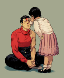 1boy 1girl black_hair blood blood_on_face bloody_nose brother_and_sister clasp eyes_closed hand_on_hip handkerchief indian_style interlocked_fingers kinzoku_bat maren_marmulla nosebleed one-punch_man pleated_skirt short_hair siblings sitting skirt torn_clothes turtleneck zenko_(one-punch_man)