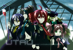1boy 4girls black_hair blood blue_eyes blue_hair caffein drill_hair green_eyes green_hair haruka_nana hat intravenous_drip kasane_teto long_hair macloid macne_nana multiple_girls necktie short_twintails soune_taya twin_drills twintails utau very_long_hair yellow_eyes yokune_ruko