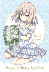 1girl 2017 blue_eyes breasts choker collarbone dated dress english flower frilled_dress frilled_legwear frilled_sleeves frills girls_und_panzer happy_birthday itsumi_erika layered_dress looking_at_viewer march neck_ribbon orchid puffy_sleeves ribbon silver_hair sitting small_breasts smile socks solo takitarou text white_flower yokozuwari