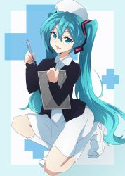 1girl aqua_eyes aqua_hair clipboard dress fang full_body hat hatsune_miku headset highres kneeling long_hair looking_at_viewer nel-c nurse nurse_cap open_mouth solo twintails very_long_hair vocaloid
