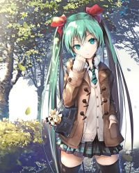 1girl ajigo aqua_eyes aqua_hair bag bag_charm bangs black_legwear blurry bow bush buttons cardigan character_doll coat colored_eyelashes cowboy_shot depth_of_field hair_bow hand_in_pocket hand_on_own_cheek hatsune_miku head_tilt headphones headphones_around_neck highres kagamine_len kagamine_rin leaf long_hair long_sleeves looking_at_viewer miniskirt necktie open_clothes open_coat outdoors parted_lips pavement plaid plaid_skirt pleated_skirt pocket revision school_bag shoulder_bag skirt sleeves_past_wrists solo striped striped_necktie thighhighs tree tsurime twintails very_long_hair vocaloid zettai_ryouiki