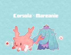 biting blue_background blue_eyes commentary corsola crying eating english heart highres holding mareanie no_humans open_mouth pokemon pokemon_(creature) pokemon_(game) pokemon_sm scared simple_background spikes tearing_up tears text thought_bubble wavy_mouth yellow_sclera