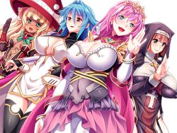 4girls blonde_hair blue_eyes blue_hair blush breasts brown_hair cape cleavage cross_necklace crown dark_skin dress earrings erect_nipples game_cg green_eyes hat highres huge_breasts legs looking_at_viewer mattari_yufi multiple_girls nagayori nun obui open_mouth pink_hair raised_hand red_eyes rena-hime_no_seiken_densetsu rokko simple_background small_breasts smile standing thighs white_background