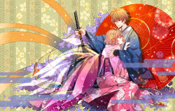 1boy 1girl brown_hair eyes_closed floral_background floral_print holding japanese_clothes katana kimono obi oriental_umbrella sakura_hime sash short_hair sitting sword tsubasa_chronicle umbrella unmoving_pattern w_w_w_wloveless weapon xiaolang