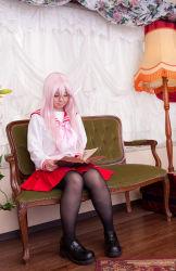 1girl asian cosplay glasses lucky_star mana pantyhose photo plump schoolgirl solo takara_miyuki