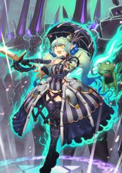 1girl :d ayaki elbow_gloves frog gloves green_hair hair_ornament highres holding open_mouth original pointy_ears skull_hair_ornament smile sword umbrella weapon yellow_eyes
