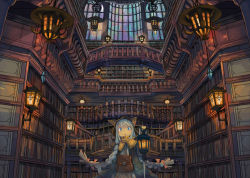 1girl :o animal_ears animal_hat arms_behind_back blue_eyes blue_hair book bookshelf braid capelet fantasy hat indoors lantern library long_hair looking_at_viewer open_mouth original pouch scenery solo stained_glass twin_braids window wu_ba_pin