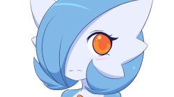1girl animated animated_gif blue_hair bouncing_breasts breasts fourth_wall gardevoir jcdr kiss lucy_(jcdr) orange_eyes pokemon shiny_pokemon