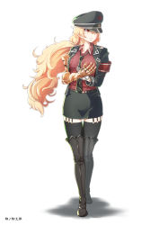 1girl armband artist_name bangs belt between_breasts black_boots black_hat black_jacket black_legwear black_necktie black_skirt blonde_hair boots breast_pocket breasts closed_mouth collarbone collared_shirt cybernetic_parts full_body garter_straps gloves hair_between_eyes hat highres jacket long_hair long_sleeves looking_to_the_side medium_breasts military military_hat military_jacket military_uniform necktie open_clothes open_jacket own_hands_together peaked_cap pocket red_eyes red_shirt rwby serious shirt simple_background single_glove skirt solo soratobu_mame. standing thigh_boots thigh_gap thighhighs uniform very_long_hair white_background white_gloves yang_xiao_long