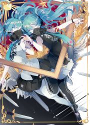 2girls breasts eyelashes feathers frame gas_mask green_eyes green_hair hatsune_miku high_heels long_hair lyodi multiple_girls nail_polish necktie pleated_skirt reversible_campaign reversible_campaign_(vocaloid) shirt skirt sleeveless sleeveless_shirt sword twintails v vocaloid weapon
