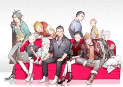 6+boys casual chromedome computer couch cyclonus denim drift drinking formal gloves hat hoodie jacket japanese_clothes jeans laptop multiple_boys open_clothes open_jacket pants perceptor personification rewind riptide_(transformers) rodimus rung sharp_teeth shishio tailgate transformers ultra_magnus