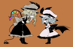2girls ascot bat_wings black_legwear blonde_hair blue_hair brown_background covering_mouth crystal dress dress_shirt eye_contact face-to-face flandre_scarlet from_side full_body hand_on_hip hand_over_own_mouth hands_on_hips hat hat_ribbon height_difference laevatein laevatein_(tail) light_frown long_sleeves looking_at_another mob_cap multiple_girls pointy_ears profile red_eyes remilia_scarlet ribbon shirt siblings side_ponytail simple_background sisters tail touhou wings yt_(wai-tei)