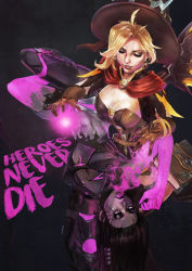 2girls absurdres alternate_costume aura black_hair blonde_hair breasts brown_gloves cleavage corruption earrings english gloves glowing glowing_eyes grey_skin hat highres huge_filesize jack-o'-lantern jack-o'-lantern_earrings jewelry mercy_(overwatch) monori_rogue multiple_girls open_mouth overwatch pharah_(overwatch) possessed_pharah witch_hat witch_mercy