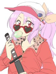 1girl bow bubble_blowing bubblegum contemporary earrings hair_bow hat heart heart-shaped_glasses heart-shaped_sunglasses highres jacket jewelry lavender_hair looking_at_viewer mana_(gooney) ponytail red_eyes short_hair sketch solo studded_collar sunglasses sword touhou upper_body watatsuki_no_yorihime weapon