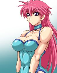 1girl bare_shoulders breasts cleavage covered_navel leotard long_hair mighty_yukiko muscle pink_hair purple_eyes solo taroimo_(00120014) upper_body wrestle_angels wrestle_angels_survivor wrestling_outfit