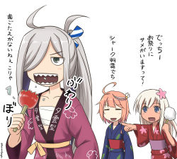 3girls :d =_= ahoge alternate_costume antenna_hair asashimo_(kantai_collection) blue_eyes budget_sarashi candy_apple collarbone commentary_request cotton_candy eating hair_ornament hair_over_one_eye happi holding i-58_(kantai_collection) japanese_clothes kantai_collection kimono long_hair multiple_girls open_mouth orange_hair pointing ponytail ro-500_(kantai_collection) sarashi sharp_teeth silver_eyes silver_hair smile spaghe tan teeth translation_request yukata