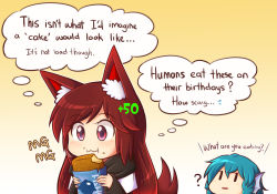 2girls :3 :t ? animal_ears blue_hair brown_hair commentary damage_numbers dress eating english gameplay_mechanics head_fins imaizumi_kagerou long_hair mg_mg multiple_girls red_eyes revision simple_background tail team_fortress_2 thought_bubble touhou upper_body very_long_hair wakasagihime wolf_ears wolf_tail wool_(miwol) |_|