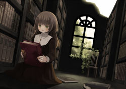 1girl blush book bookshelf brown_hair chair dutch_angle green_eyes holding holding_book indoors key_necklace long_hair nun on_floor open_mouth original plant solo tozaki_makoto vines window