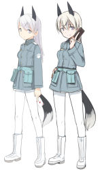 1girl animal_ears blue_eyes boots card commentary_request eila_ilmatar_juutilainen fox_ears fox_tail long_hair looking_at_viewer military military_uniform pantyhose playing_card shimada_fumikane silver_hair simple_background smile solo strike_witches tail uniform white_background white_legwear