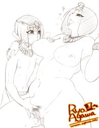 1boy 1girl agawa_ryou bangs bob_cut breast_sucking circlet commentary_request egyptian fingering hetero jewelry nipples nude original pubic_hair pussy pussy_juice short_hair shota sketch straight_shota sweat tiara