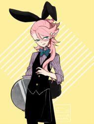 1boy artist_name l_hakase long_hair male_focus pink_hair solo souza_samonji striped_background touken_ranbu tray twitter_username
