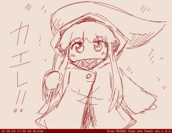 1girl hooded_jacket ichimi kantai_collection leaf_umbrella long_hair looking_at_viewer northern_ocean_hime shinkaisei-kan sketch solo tegaki translation_request