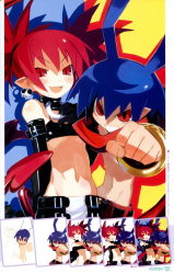1boy 1girl antenna_hair blue_hair blush bracelet clenched_hand disgaea earrings elbow_gloves etna gloves grin harada_takehito highres jewelry laharl makai_senki_disgaea multicolored_background official_art pointy_ears red_eyes red_hair shirtless short_hair slit_pupils smile spiked_hair twintails