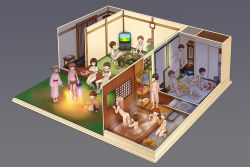 6+boys 6+girls :d ^_^ ^o^ abubu ass back basket bathing bathroom black_hair blonde_hair blush bottle breasts brown_hair bucket bulge chopsticks clothes_removed cup drinking_glass eating eyes_closed fellatio food fruit fundoshi glasses grey_background hetero highres hood hoodie japanese_clothes kimono loli long_hair multiple_boys multiple_girls navel nipples nude open_mouth oral original panties panties_removed partially_submerged penis plate pot sandals sex shoes_removed short_hair shorts shota simple_background sitting smile squatting striped striped_panties sweat television tissue_box toilet trash_can underwear undressing water watermelon yukata