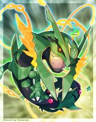 artist_name commentary dragon english fangs highres looking_at_viewer mega_pokemon mega_rayquaza open_mouth pokemon pokemon_(game) pokemon_oras rayquaza solo tomycase