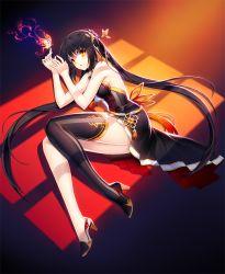 1girl ara_han artist_request black_hair dress elsword high_heels jewelry orange_eyes single_thighhigh solo sylpi thighhighs twintails