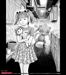 1girl banette doll greyscale highres itou_junji monochrome official_art pokemon skirt twintails