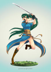 1girl artist_name boots dress fingerless_gloves fire_emblem fire_emblem:_rekka_no_ken full_body gloves gradient gradient_background green_eyes green_hair gzei high_ponytail highres holding holding_sword holding_weapon katana long_hair lyndis_(fire_emblem) obi pelvic_curtain ponytail sash scabbard scrunchie serious sheath side_slit solo standing standing_on_one_leg sword unsheathed very_long_hair watermark weapon