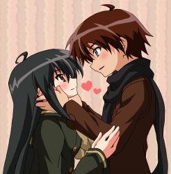 1boy 1girl ahoge black_hair blue_eyes blush brown_eyes brown_hair coat couple gacchi_(supergatchi) heart hetero long_hair sakai_yuuji scarf shakugan_no_shana shana short_hair