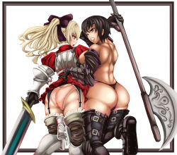 2girls armor ass back bare_shoulders black_hair blonde_hair blush boots bow breastplate breasts brown_eyes clenched_teeth corset from_behind garter_straps gauntlets gold_eyes hair_bow huge_ass huge_breasts long_hair looking_back looking_down multiple_girls open_mouth original panties polearm ponytail short_dress short_hair sideboob skirt_lift sweatdrop sword thigh_boots thighhighs thong underwear weapon