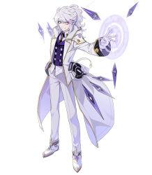 1boy add_(elsword) coat elsword gloves grin hwansang long_hair magic_circle male_focus necktie official_art pants ponytail purple_eyes shoes smile solo standing white_background white_gloves white_hair