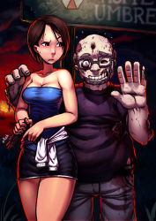 1boy 1girl bangs bare_shoulders blue_eyes blush breasts brown_hair bullet_hole casual cleavage clothes_around_waist glasses gun handgun jill_valentine koi_drake miniskirt pencil_skirt pistol resident_evil resident_evil_3 short_hair skirt strapless sweater_around_waist swept_bangs waving weapon zombie