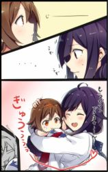 ... 2girls :t ahoge black_serafuku breast_smother breasts brown_hair chibi comic eyes_closed hair_flaps hair_ornament hairband hand_on_another's_cheek hand_on_another's_face hand_on_another's_head headband hug kantai_collection long_sleeves looking_at_another multiple_girls necktie open_mouth orange_eyes purple_hair red_eyes red_necktie round_teeth school_uniform serafuku shiratsuyu_(kantai_collection) short_hair short_sleeves smile staring sweatdrop taigei_(kantai_collection) teeth translated whale yukichi_(eikichi)