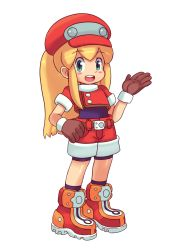 1girl bike_shorts blonde_hair blush_stickers boots capcom cosplay flat_chest gloves green_eyes hat mato_spectoru ponytail rockman rockman_(classic) rockman_dash roll roll_caskett roll_caskett_(cosplay) shorts socks solo