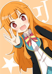 >:3 >:d 1girl :3 :d amatsuka_mao blazer blonde_hair blush bow fang gj-bu hair_flaps jacket kurosuke_(pixiv5704) long_hair long_sleeves open_mouth orange_hair outstretched_arm pink_eyes salute school_uniform skirt smile solo very_long_hair vulcan_salute