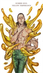 1boy character_name gap_(pdmng) jojo_no_kimyou_na_bouken rubber_soul shirtless simple_background slime solo stand_(jojo) yellow_temperance