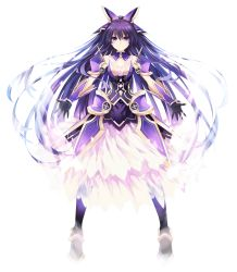 1girl armor armored_dress choker date_a_live dress gloves long_hair looking_at_viewer pauldrons purple_eyes purple_hair simple_background smile solo standing tsunako yatogami_tooka