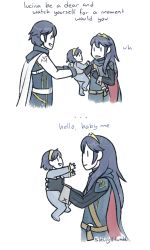 1boy 2girls baby blue_hair comic dual_persona english father_and_daughter fire_emblem fire_emblem:_kakusei krom long_hair lucina multiple_girls partially_colored shinyv short_hair time_paradox white_background younger