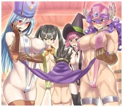 1boy 4girls abs aqua_eyes bandanna barrel bespectacled black_eyes black_hair black_legwear blue_eyes blue_hair blush breasts brown_legwear cape_lift choker circlet commentary_request cross curly_hair dragon_quest dragon_quest_iii elbow_gloves fighter_(dq3) glasses gloves hair_bobbles hair_ornament hat helmet large_breasts long_hair mage_(dq3) mimonel mitre multiple_girls muscle naked_cape pink_hair priest_(dq3) purple_hair red_eyes roto short_hair shota sling_bikini soldier_(dq3) straight_shota sweatdrop swimsuit thigh_strap thighhighs twintails winged_helmet witch_hat