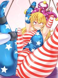 1girl blonde_hair bound clownpiece futanari gradient_background hisui_(stapspats) pussy tagme touhou